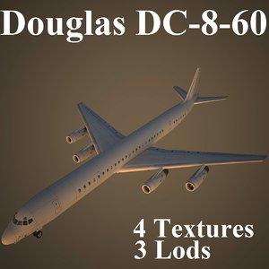 3d max douglas dc-8-60 low-poly