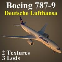 3d model boeing 787-9 dlh