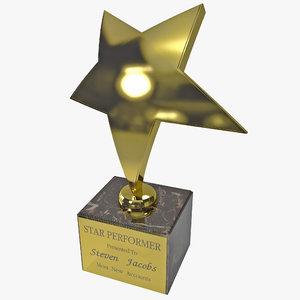3d model star trophy