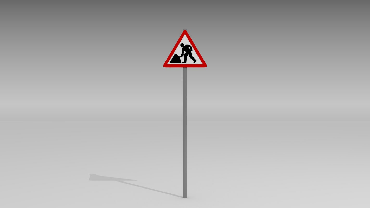3d model road work ahead warning sign