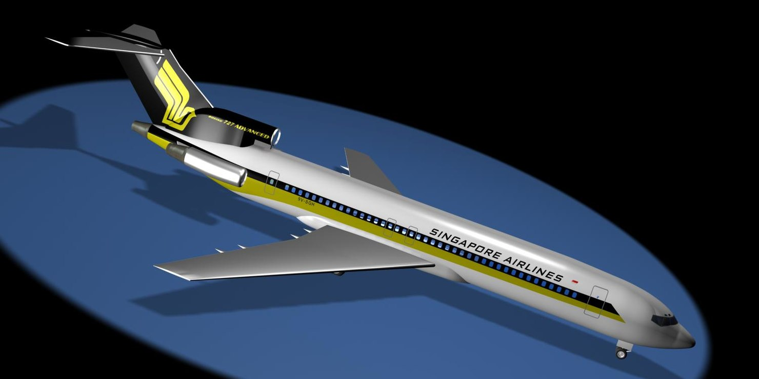 3d model singapore airlines 727-212 advanced