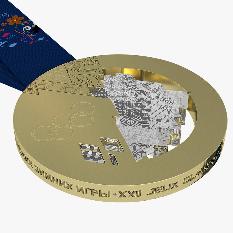3d olympic medals sochi 2014 model