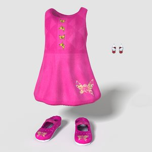 child girl outfit 3d model