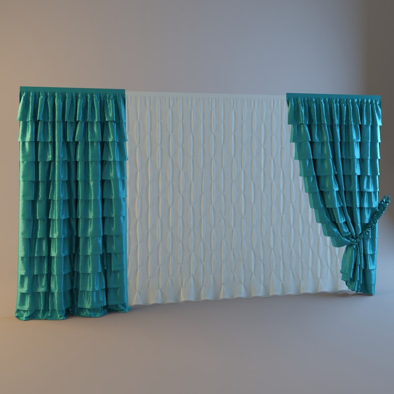3d model curtains tulle