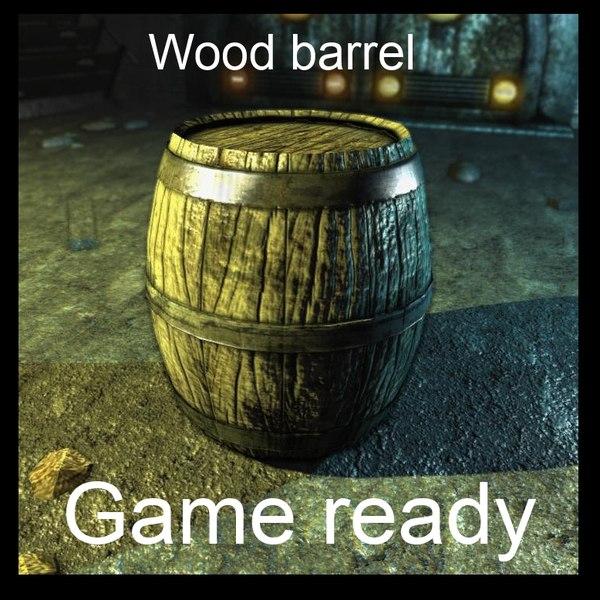 wooden barrel 3d max