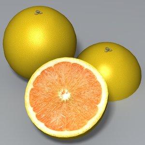 3d model of grapefruit fruit white