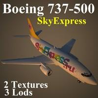 boeing 737-500 sxr 3d model