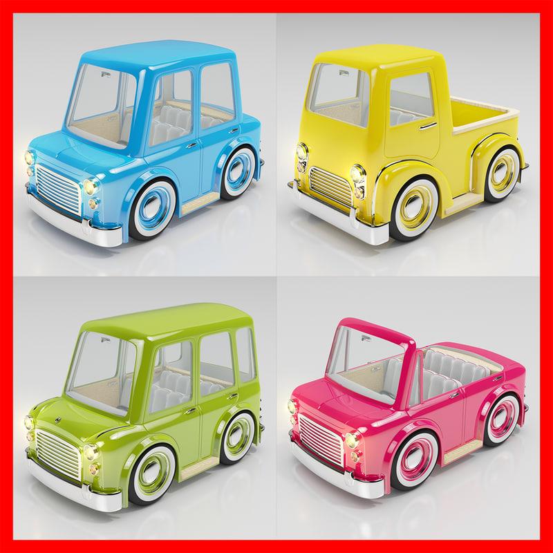 3d cartoon car pack 03 model
