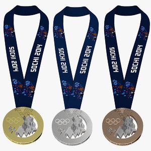 3d olympic medals sochi 2014 model