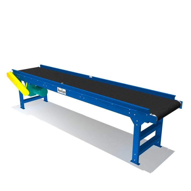 belted trough bed conveyor 3d model