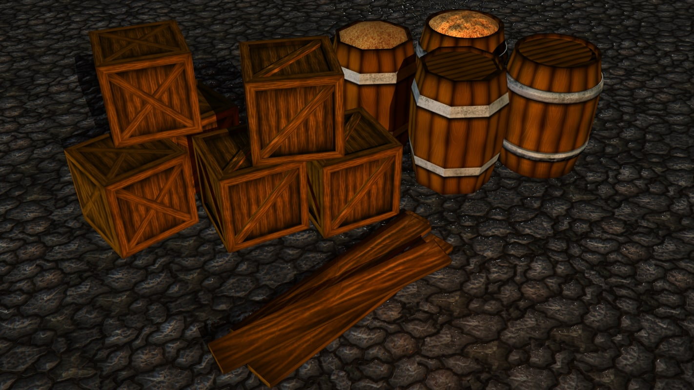 3d hand painted box wood barrel