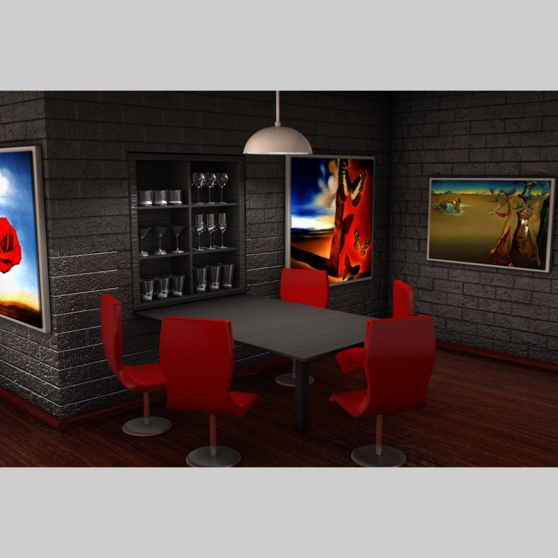 3d model of home kitchen interior
