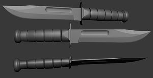 3d highpoly ka-bar knife model