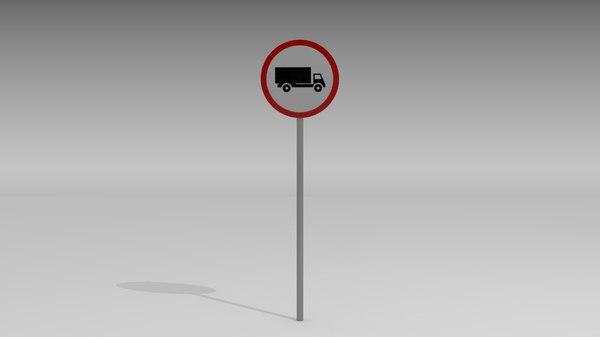 heavy vehicles prohibited sign obj