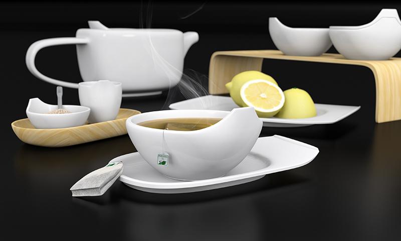 3d obj tea set