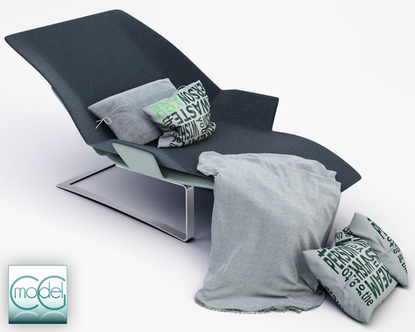 c4d chaise blanket pillows