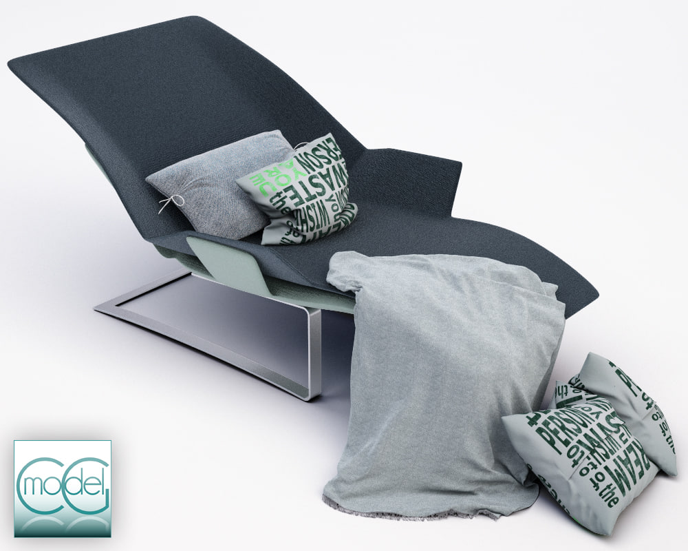 c4d chaise blanket pillows
