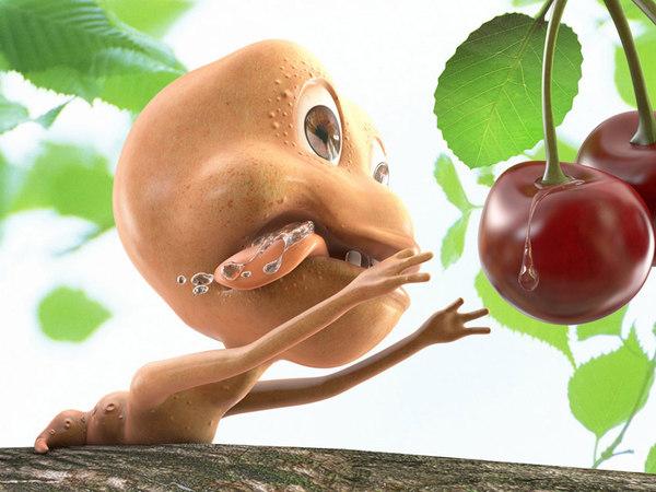 3d model worm branch cherry