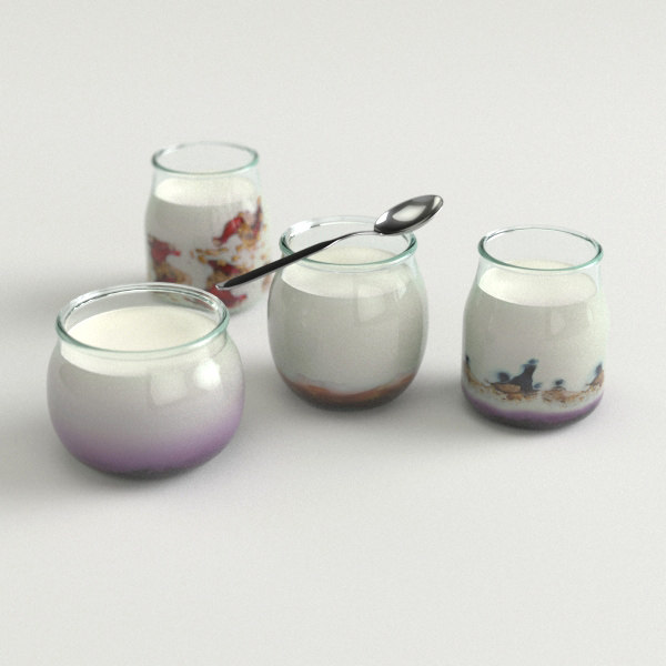 luxury bio yogurt 3d model