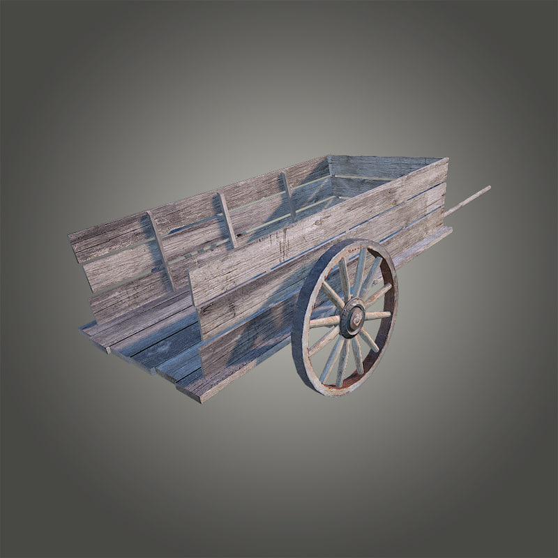 3d old wooden cart model