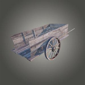3d old wooden cart model
