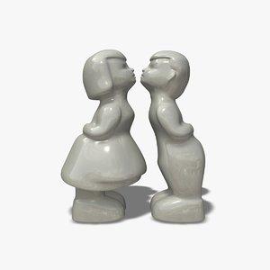 3d boy girl kissing ornaments model