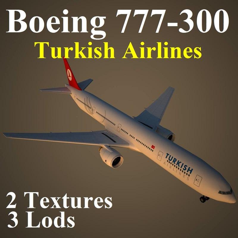 3d boeing 777-300 thy