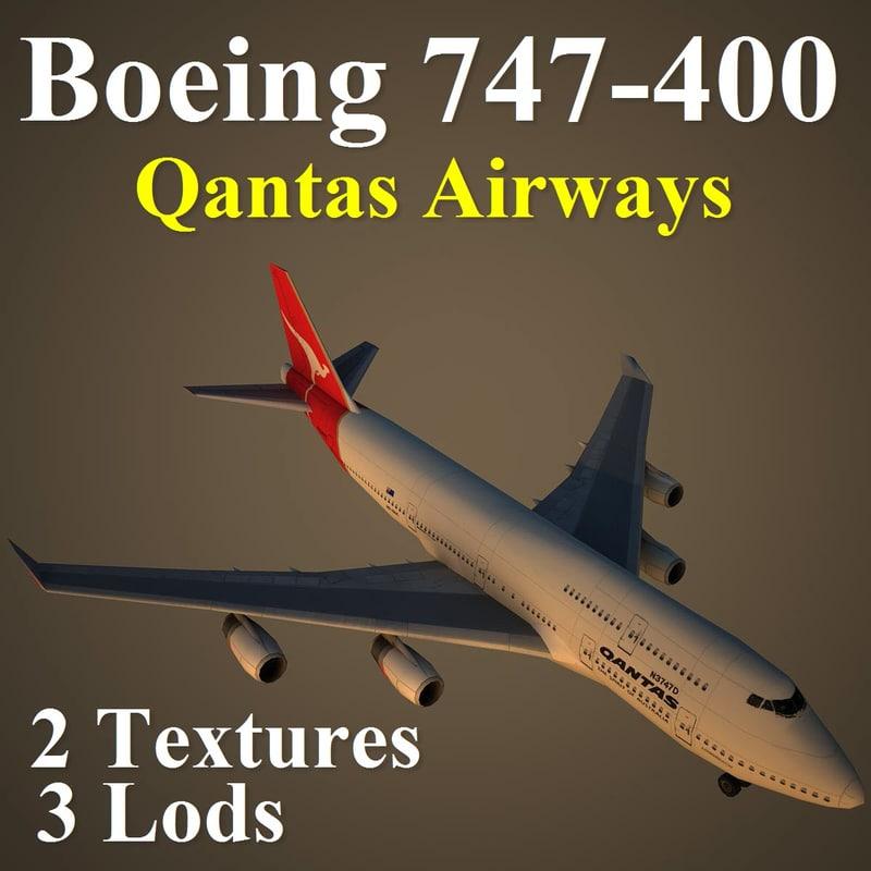 3d model boeing 747-400 qfa