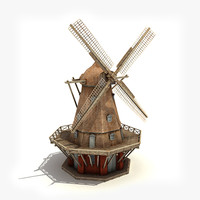 low-poly windmill wind 3ds