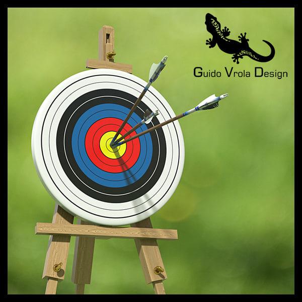 3d model target arrows center