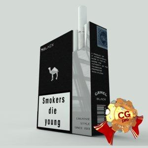 3d model of pack camel black cigarettes