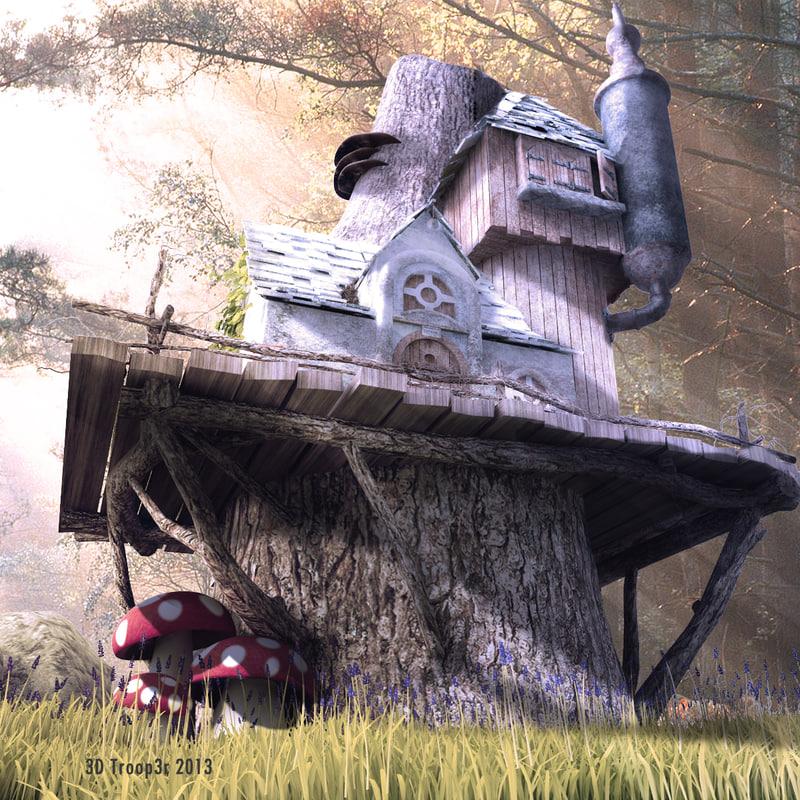 3d fantasy tree home model