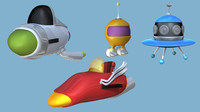 cartoon spaceships 3d lwo