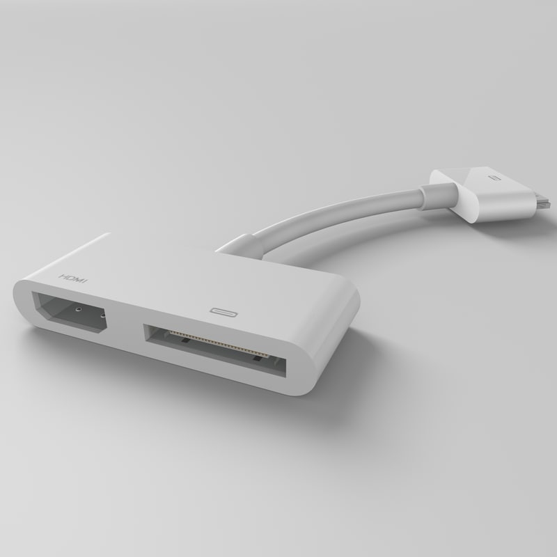 3d model apple 30-pin digital av