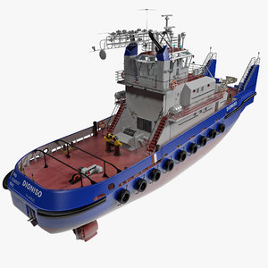 3ds pusher tug boat
