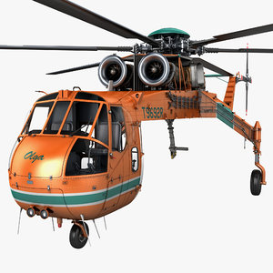 sikorsky s-64 skycrane helicopter 3d max