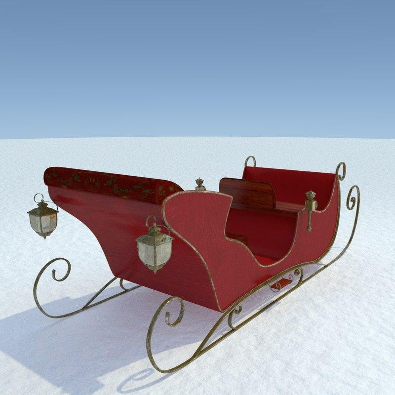 santa sleigh 3d 3ds