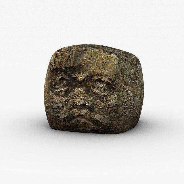 3d ancient stone head