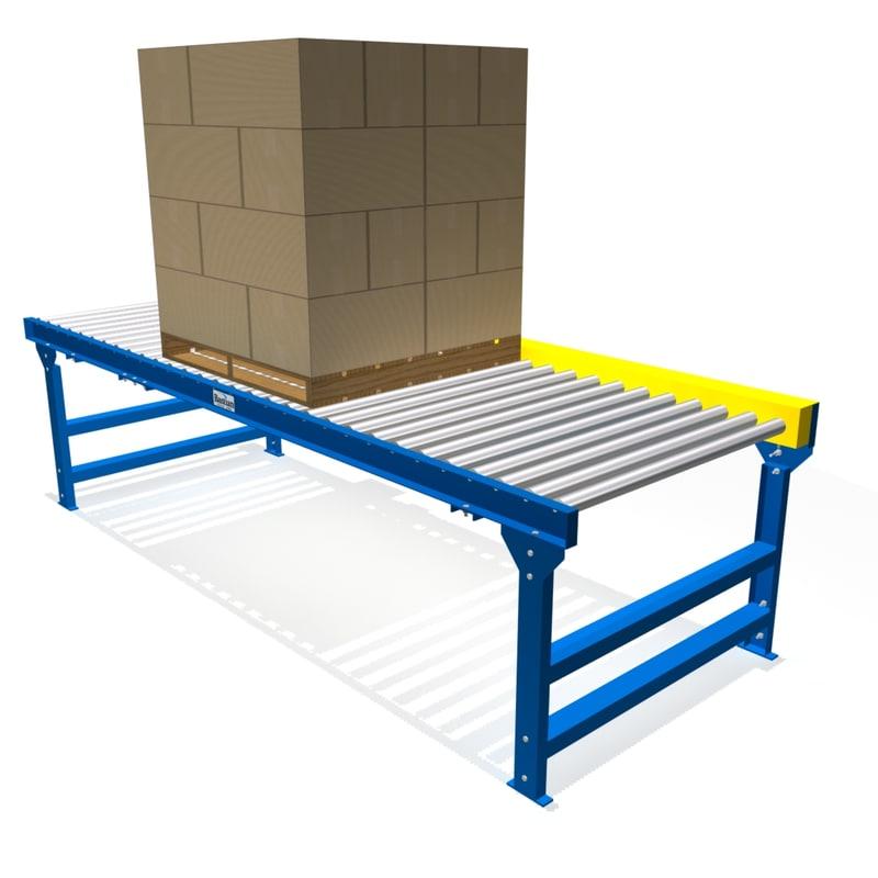 3d chain driven live roller conveyor model