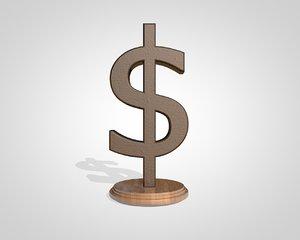 3d dollar sign model