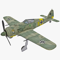 Focke Wulf Fw 190 German WWII Fighter Aircraft Rigged