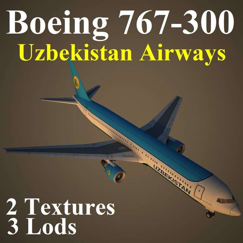 3d model boeing 767-300 uzb