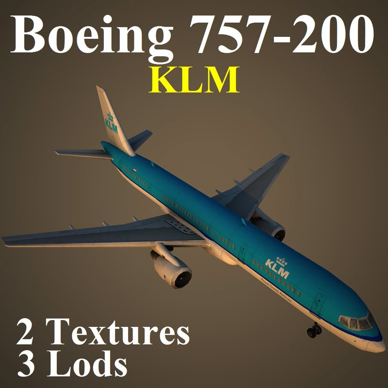 3d boeing 757-200 klm