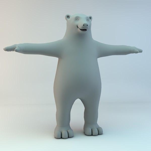 cartoon bear polar character naked 3d max