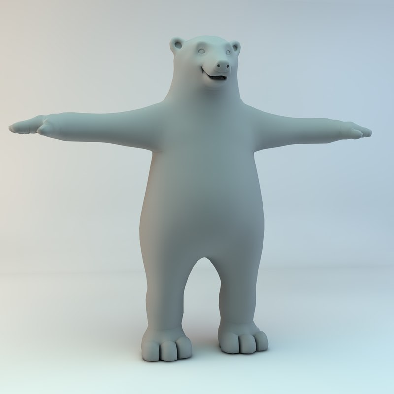 cartoon bear polar character naked 3d max