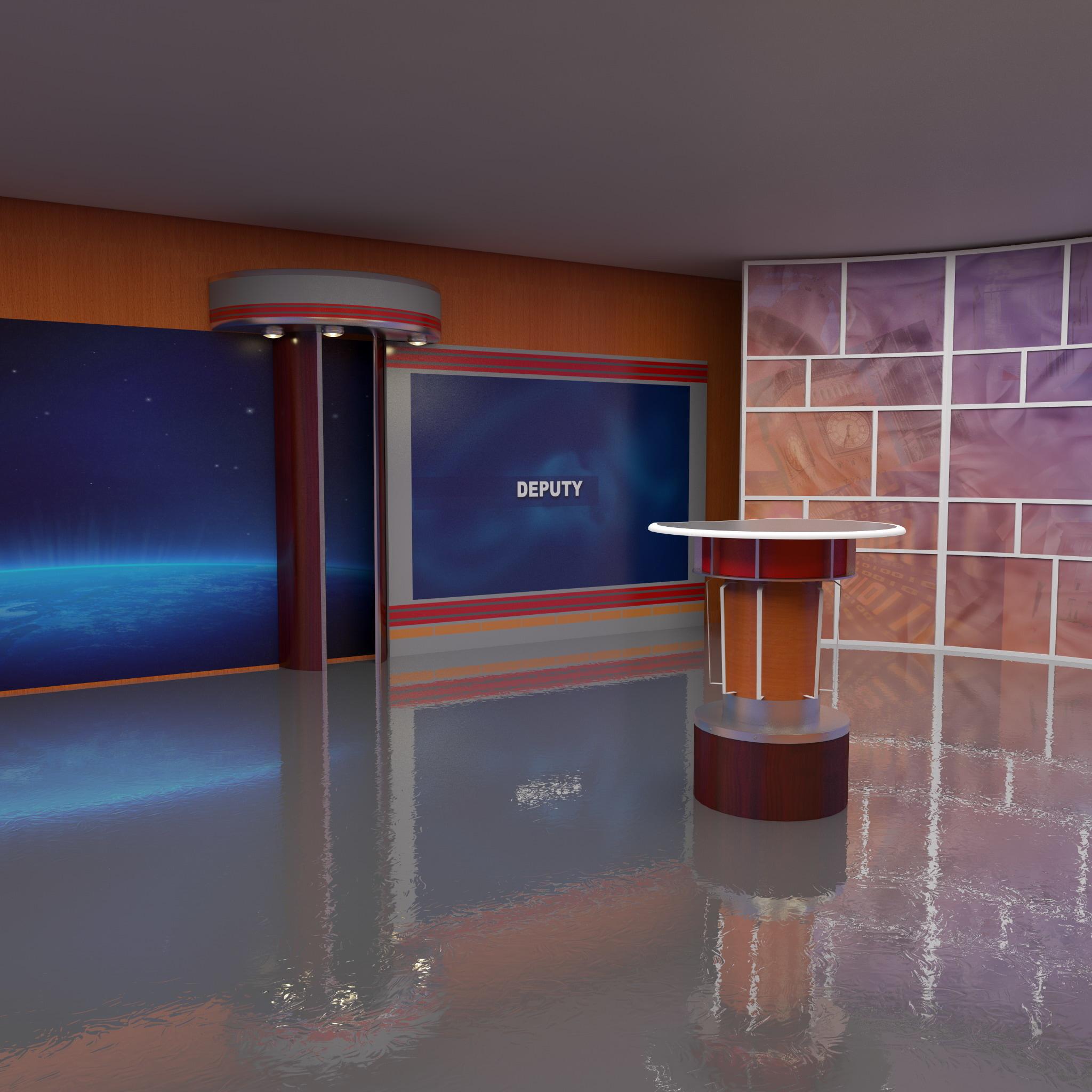 tv studio 3d model