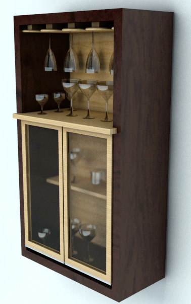 3ds cup glasses cabinet