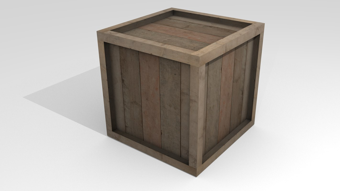 3d wooden box ready model