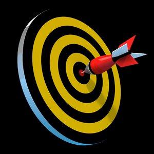 3d cartoon dartboard dart model