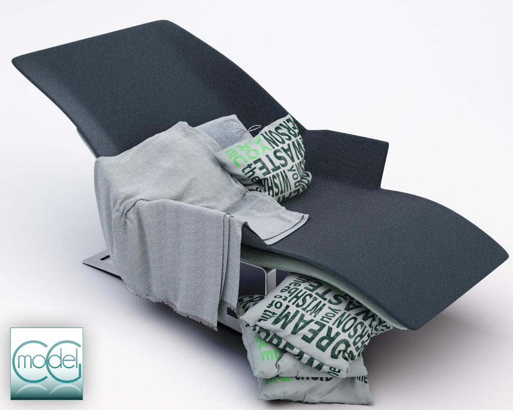 chaise blanket pillows c4d